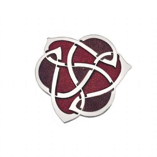 Celtic Archibold Knox Brooch Silver Plated Red Brand New Gift Packaging